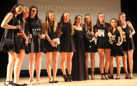 Several Sacred Heart Greenwich student-directors celebrate their award-winning films. Christina Weiler '17