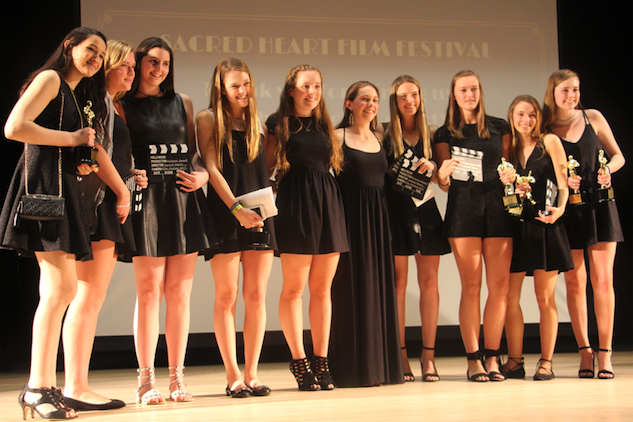 Several Sacred Heart Greenwich student-directors celebrate their award-winning films. Christina Weiler '17