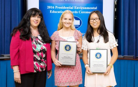 The U.S. Environmental Protection Agency honored Ms. Mary Musolino (left), Madison Miles (middle), and Katherine  Siciliano (right) at a White House Ceremony August 16. Courtesy of greenwichsentinel.com