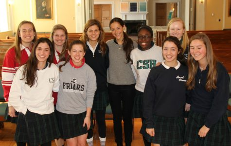 Members of Convent of the Sacred Heart's Human Trafficking club joined in a photo with Ms. Jessica Hendricks after the chapel. Katie Nail '16