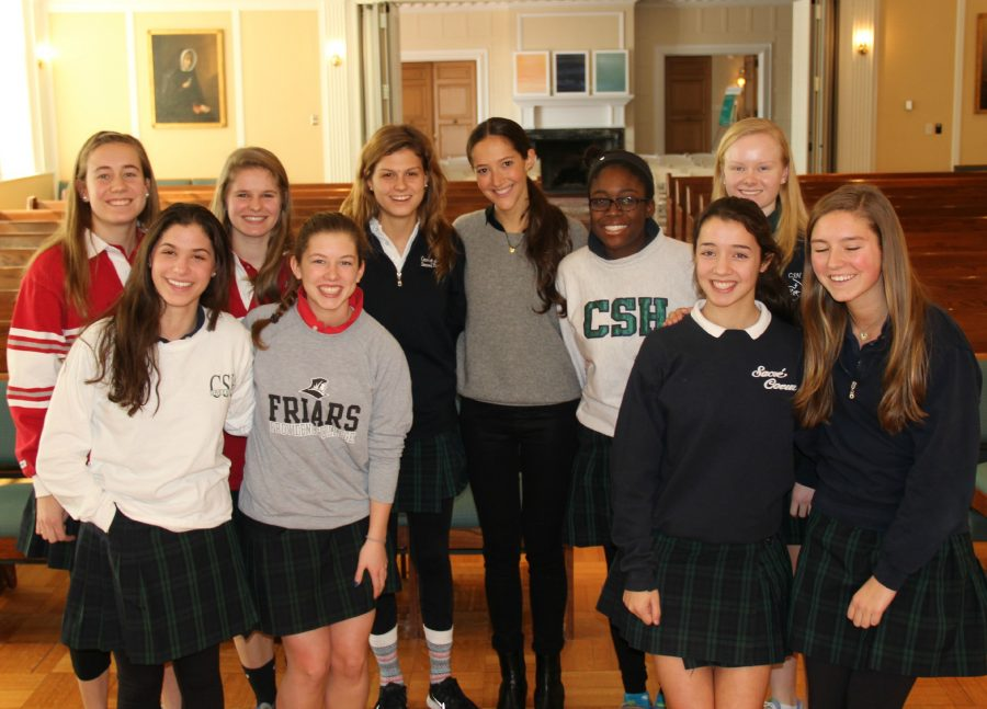 Members+of+Convent+of+the+Sacred+Heart%27s+Human+Trafficking+club+joined+in+a+photo+with+Ms.+Jessica+Hendricks+after+the+chapel.%0AKatie+Nail+%2716