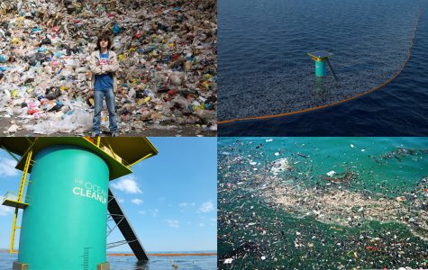 From top left: CEO of The Ocean Cleanup Mr. Boyan Slat, mock model of passive cleanup barrier, debris collection silo, Garbage Patch close up. Nebai Hernandez '16