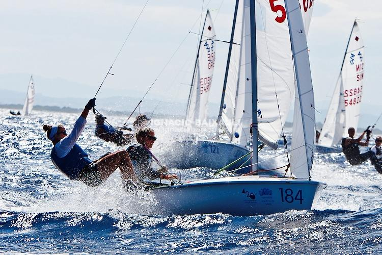 Senior+Meg+Gerli+hangs+off+the+boat+as+she+competes+in+the+2013+i420+World+Championship+regatta+in+Valencia%2C+Spain.+