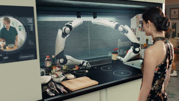Comprised of two robotic arms in a specially designed kitchen, the Robot Chef can reproduce the movements of a human chef in order to create a meal from scratch. Courtesy of time.com
