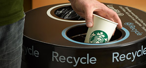 Starbucks recently increased eco-friendly practices through the use of cups made of compost material and Earth Sleeves. Courtesy of starbucks.com