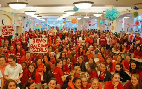 Sacred Heart Upper and Middle School students gathered in the Student Dining Room May 9 to protest Nigerian students' kidnapping. Nearly 9 months after the girls' disappearance, their location remains unknown. Courtesy of greenwichtime.com
