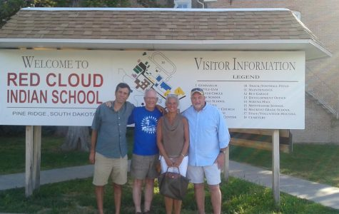 Dr. Mottolese, Fr George Winzenburg, Mrs. Pendergast, and Mr. Pendergast at the Red Cloud Indian School.