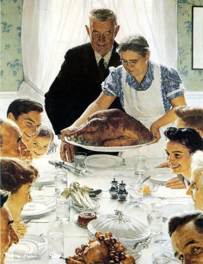 Norman+Rockwell+illustrates+a+family+preparing+for+Thanksgiving+dinner+through+his+painting+Freedom+From+Want.%0ACourtesy+of+Aesthetic+Reflections