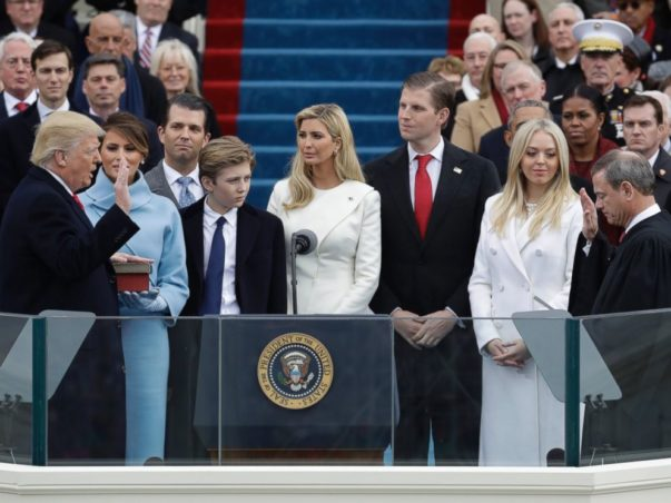 President+Donald+Trump+stands+along+side+his+family+as+he+recites+the+Presidential+Oath+of+Office.+Courtesy+of+abcnews.com
