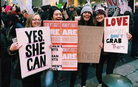 Upper School students Nina Rosenblum '18, Abby Leyson '18, Gianna Morano '18 and Emily Coster '18 participated in the Women's March in New York City January 21.