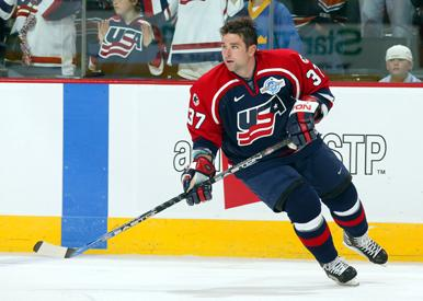 Mr. Drury, number 37 on the ice representing Team USA during the 2006 Winter Olympics. Courtesy of bu.edu.
