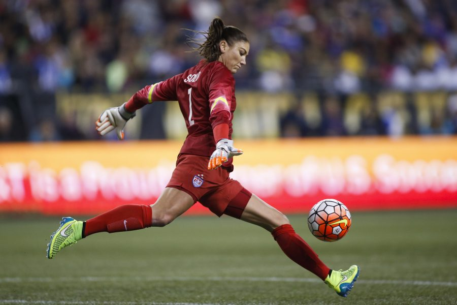 USWNT goalkeeper Hope Solo punts the ball October 21, 2015 in a match against Brazil.