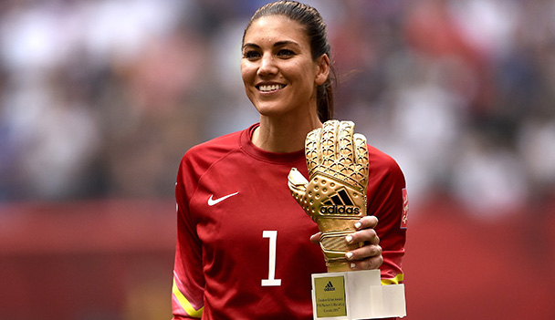 VANCOUVER, BC - JULY 05:  Gaolkeeper Hope Solo #1 of the United States poses after winning the Golden Glove in the FIFA Women's World Cup Canada 2015 Final at BC Place Stadium on July 5, 2015 in Vancouver, Canada.  (Photo by Dennis Grombkowski/Getty Images)
