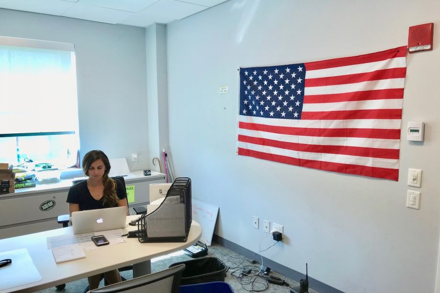 Ms. Aly Messinger decorated her new office in the Athletic Center with memorabilia from the United States Naval Academy.
