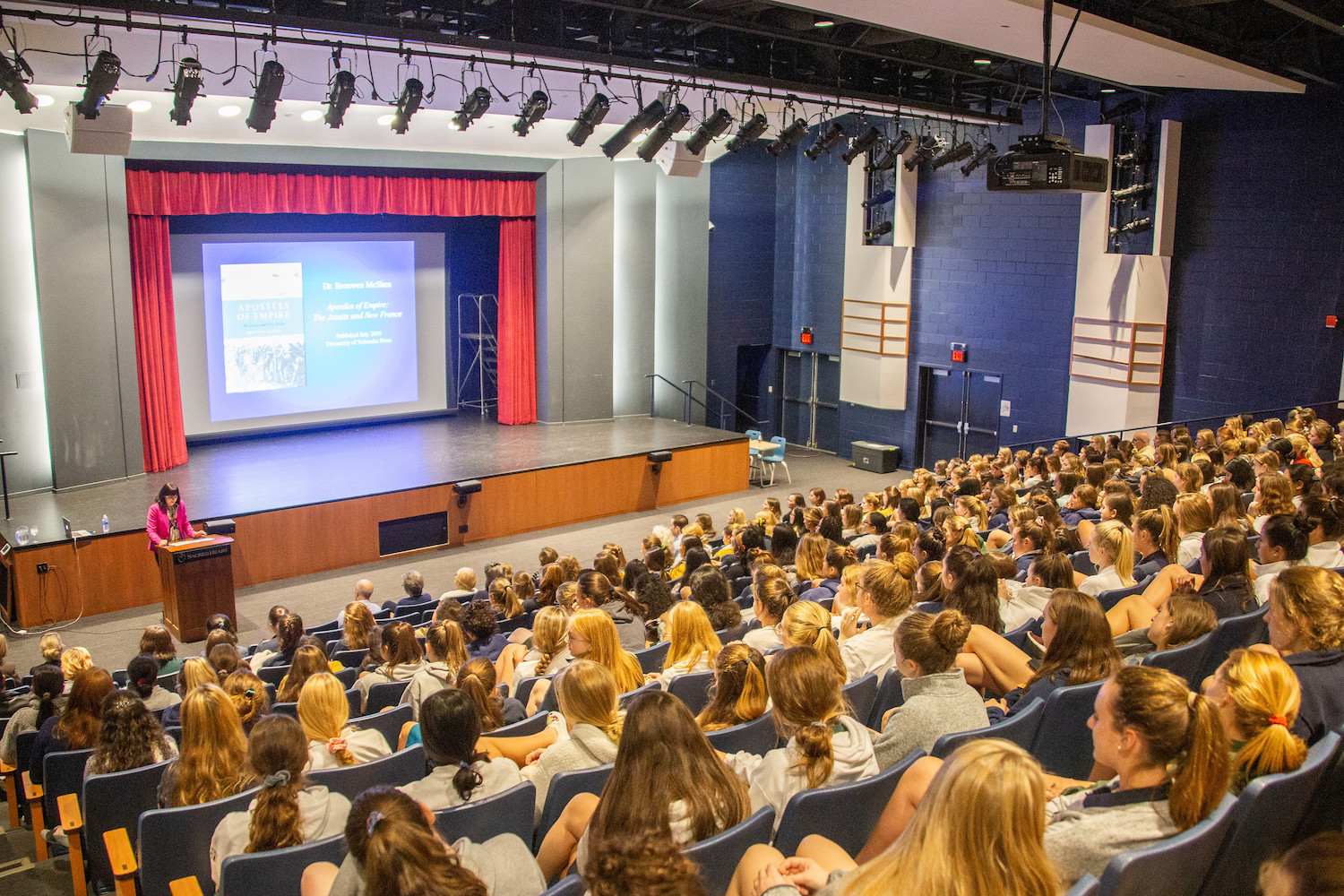 Dr. Bronwen McShea shares her new book Apostles of Empire: The Jesuits and New France  with Upper School students. Courtesy of Ms. Rachel Zurheide