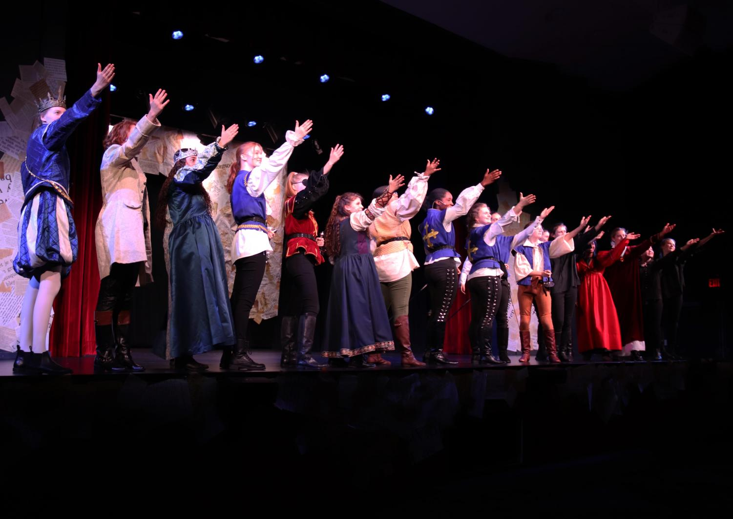 The cast of The Three Musketeers after their first performance of the show.