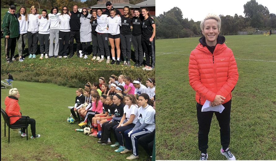 Olympic+athlete%2C+Ms.+Megan+Rapinoe%2C+and+her+sister%2C+Ms.+Rachael+Rapinoe%2C+share+their+talent+and+love+for+soccer+with+clinic+participants.+