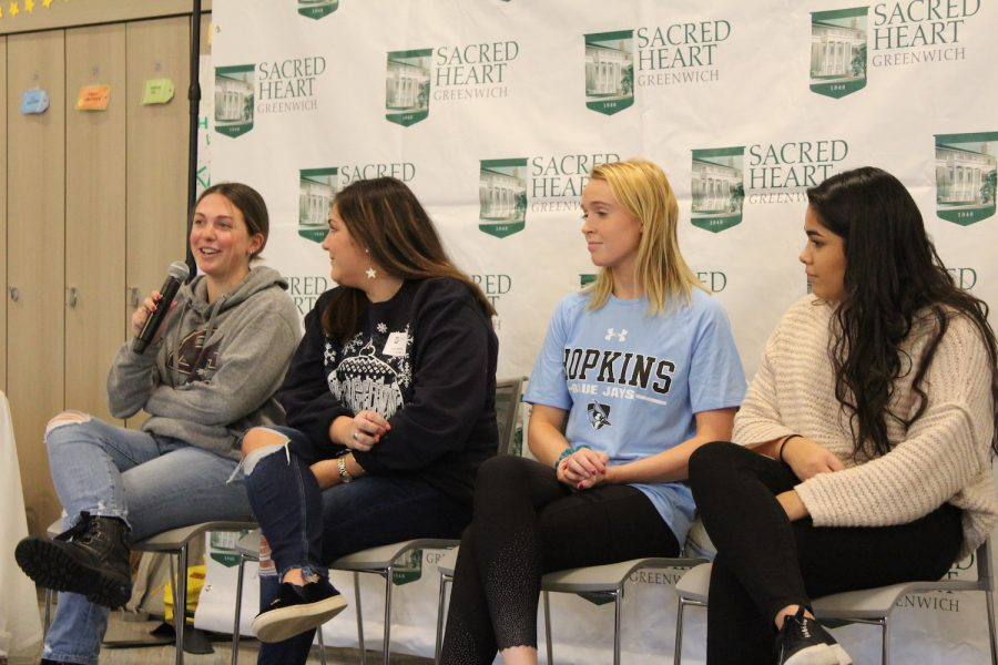 Ms. Maddie McLane '17, Ms. Daisy Steinthal '19, Ms. Claire Liddy '19, and Ms. Adriana Arias '19 share college advice and experiences with current juniors and seniors.