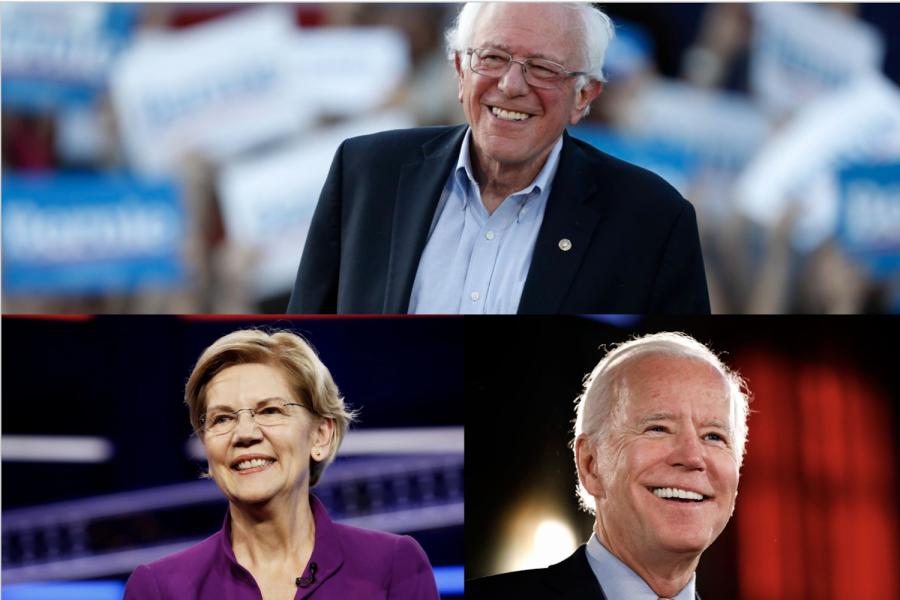 Senator Bernard Sanders, Senator Elizabeth Warren, and Mr. Joseph Biden are the three Democratic front runners of the 2020 presidential election.