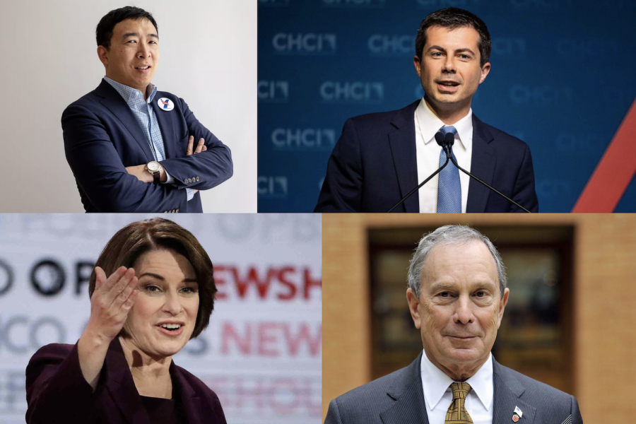 Mr.+Andrew+Yang%2C+Mr.+Pete+Buttigieg%2C+Mrs.+Amy+Klochubar%2C+and+Mr.+Michael+Bloomberg+are+all+competing+to+secure+the+Democratic+nomination+for+the+2020+election.