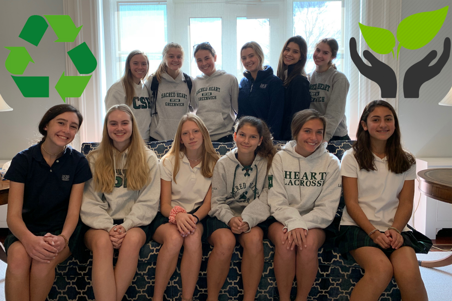 Upper School students Hadley Noonan '21 and Mary O'Connor '21, club heads of the Sustainability Club, work to reduce the amount of plastic waste in the Sacred Heart community.