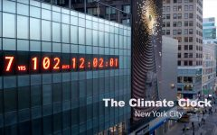 The Climate Clock, on the side of a building in Union Square, displays the amount of time left until climate change takes full effect.