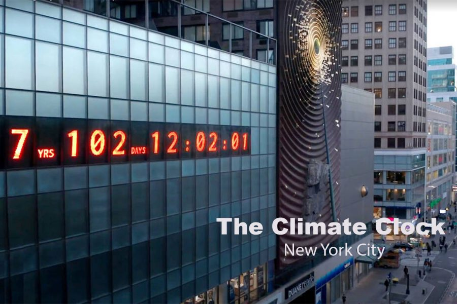 The+Climate+Clock%2C+on+the+side+of+a+building+in+Union+Square%2C+displays+the+amount+of+time+left+until+climate+change+takes+full+effect.