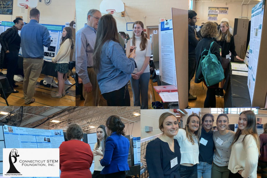 Although past Connecticut STEM Fairs took place in person, this year, Science Research students participated in the Connecticut STEM Fair through an online platform.
