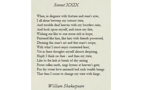 """Maddy Abramson '23: Sonnet 29, """"When, in disgrace with fortune and men's eyes"""""""