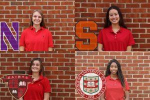 The 2021 senior editorial board, Natalie Dosmond 21, Sofia Pye 21, Jacey Heffernan 21, and Lé-Anne Johnson 21, share their college experiences. Caterina Pye 23