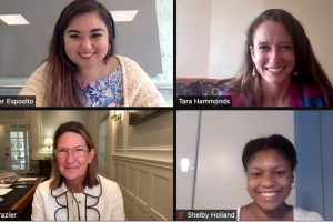Mrs. Margaret Frazier, Head of School, welcomes Ms. Jen Esposito 15, Ms. Tara Hammonds 14, and Ms. Shelby Holland 14 to speak about their careers to the Upper School over Zoom.